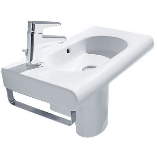 Roca Meridian-N Compact Square Basin With Semi Pedestal - 600mm - Left Handed - 1 Tap Hole